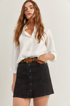 Springfield Denim Buttons Skirt black
