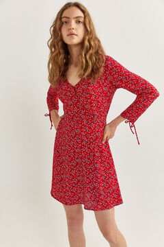 Springfield Crossover neckline dress red