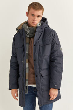 Springfield PARKA LONGUE DÉPERLANTE REMBOURRAGE DUVET ET PLUME RDS ET POLYESTER KEEP IT WARM ! blau