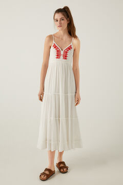 Springfield Long red embroidered cheesecloth dress grey