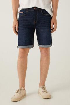 Springfield Dark wash lightweight denim Bermuda shorts blue
