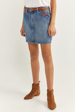Springfield Denim Mini Skirt steel blue