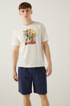 Springfield Pijama curto malha Tom e Jerry azulado