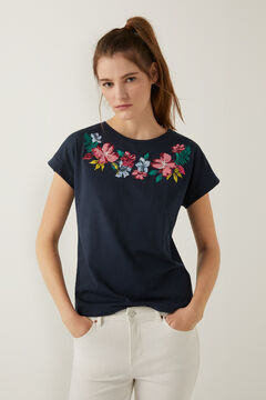 Springfield Tropical floral graphic t-shirt  indigo blue