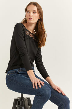 Springfield Lace Yoke T-shirt black