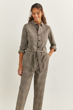 Springfield Long Checked Jumpsuit brown