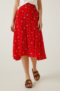 Springfield Falda plisada estampada rojo