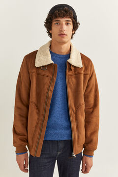 Springfield DOUBLE-FACED FAUX SUEDE AVIATOR JACKET camel