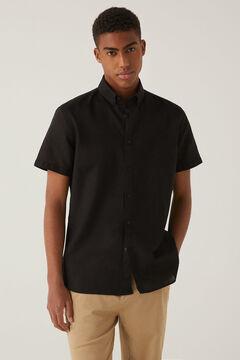 Springfield Camisa manga corta lino negro
