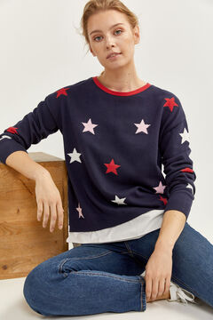 Springfield Two-material Stars Jumper blue