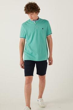 Springfield Slim fit double mandarin collar polo shirt green