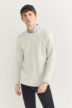 Springfield Melange cotton jumper with elbow pads light gray