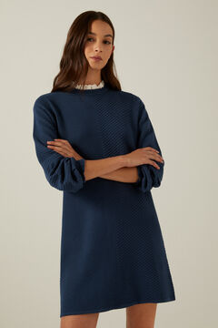 Springfield Jersey-knit dress with lace collar green