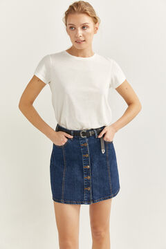 Springfield Denim Buttons Skirt blue