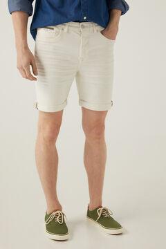 Springfield Bermudas Jeansstoff Slim Weiß weiß