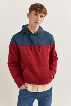 Springfield COLOUR BLOCK HOODED SWEATSHIRT royal red