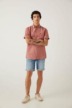 Springfield Camisa manga corta lino burdeos