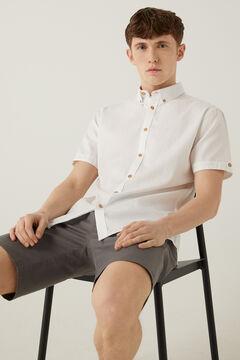 Springfield Coloured dobby short-sleeved shirt white