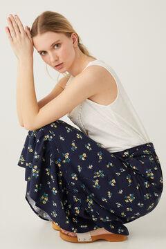 Springfield Printed tie waist midi skirt steel blue