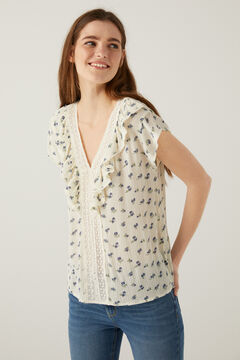 Springfield Lace blouse with ruffles. grey