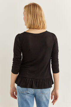Springfield Camiseta bajo volante negro