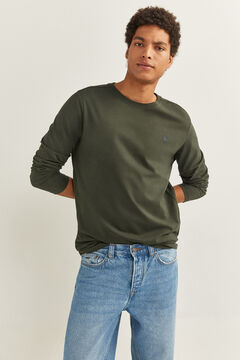 Springfield ESSENTIAL LONG-SLEEVED T-SHIRT dark green