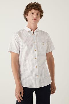 Springfield Short-sleeved printed shirt white