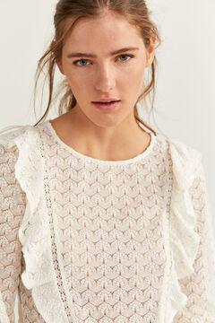 Springfield Flounced Crochet T-shirt camel