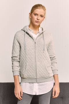 Springfield Quilted Hooded Sweatshirt gray