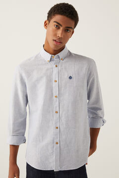 Springfield Striped embroidered logo shirt blue
