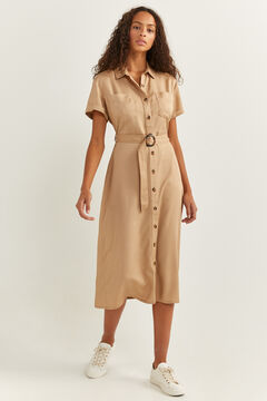 Springfield Tencel Midi Shirt Dress beige