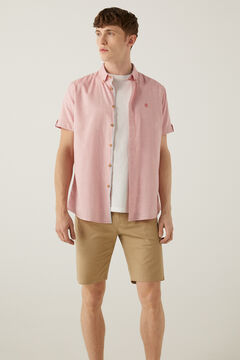Springfield Coloured dobby short-sleeved shirt pink