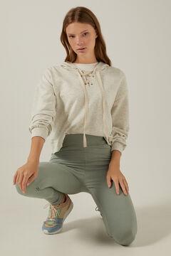 Springfield Ribbed organic cotton leggings light gray