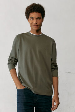 Springfield Long-sleeved piqué T-shirt grey