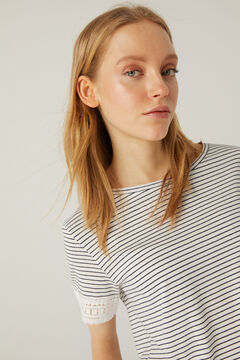 Springfield T-shirt imprimé manches crochet écru