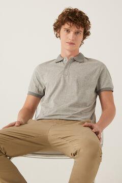 Springfield Micro-striped slim fit jersey polo gray