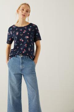 Springfield Printed crochet sleeves t-shirt steel blue