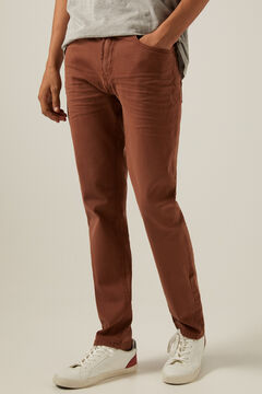 Springfield Slim fit washed 5-pocket coloured trousers bordeaux