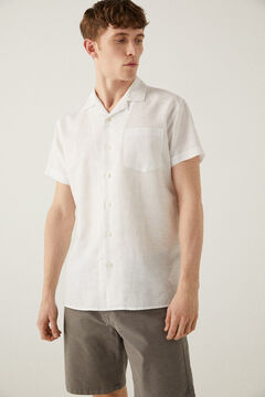 Springfield Short-sleeved linen bowling shirt white