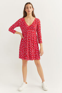 Springfield Printed flounced short dress red