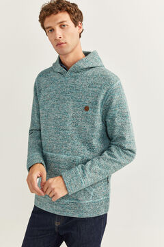 Springfield TEXTURED HOODED SWEATSHIRT dark green