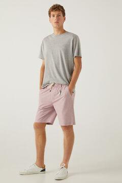 Springfield Striped beach Bermuda shorts with keyring pink