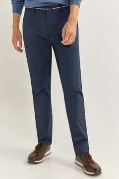 Springfield PANTALON CHINO STRUCTURÉ BICOLORE DAILY SMART blau