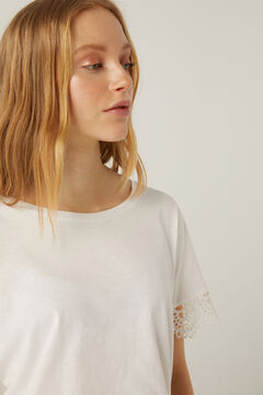 Springfield Crochet sleeves t-shirt white
