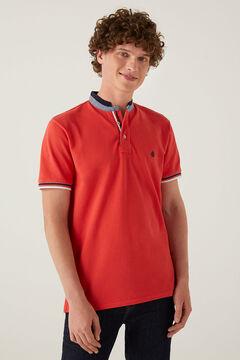 Springfield Slim fit double mandarin collar polo shirt red