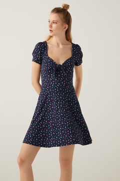 Springfield Short knot neckline dress steel blue