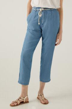 Springfield Tencel belted baggy trousers steel blue