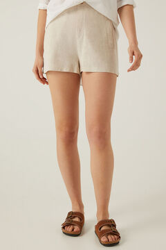 Springfield Fluid linen viscose Bermuda shorts brown