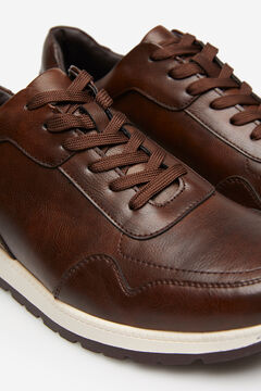 Springfield BROWN FAUX LEATHER TRAINER brown