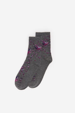 Springfield Flower Bird Socks grey